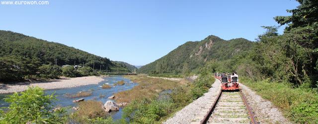 Bicirrail al lado del río