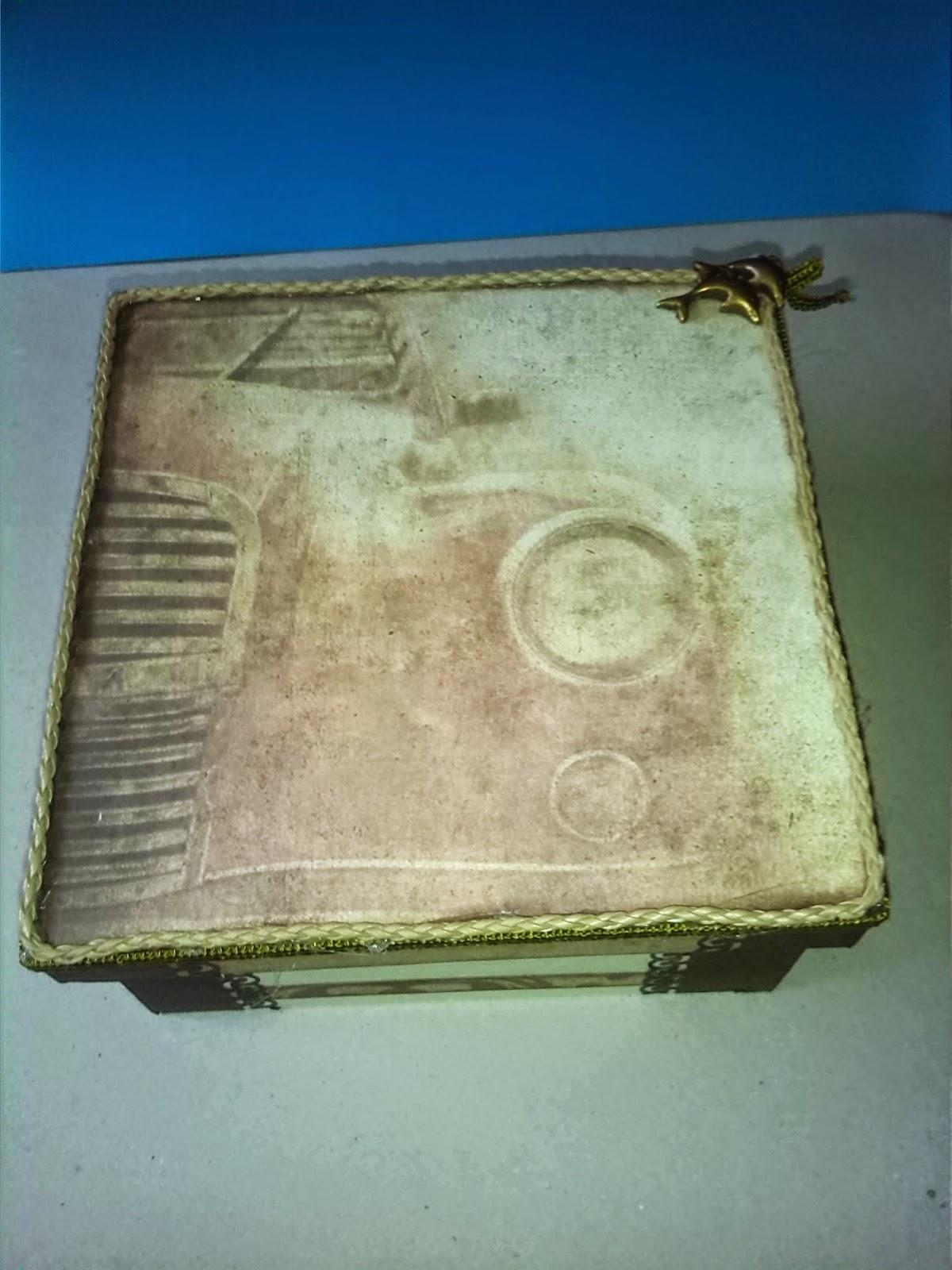 Caja De Madera Decorada Punto De Cruz