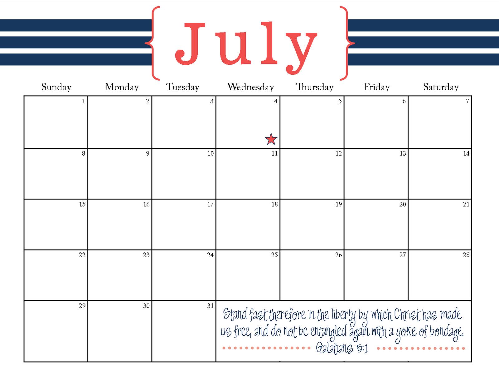 Blank Calendar July Printable : The ging pastors wife printable july calendar