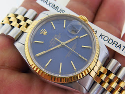 ROLEX OYSTER PERPETUAL DATE JUST SUNBURST BLUE DIAL TWO TONE - ROLEX 16013 SUNBURST BLUE DIAL
