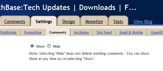 Show and hide comment - TechBase
