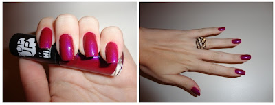 O lindo esmalte Purple Rain da Hits aplicado nas unhas. Ótima durabilidade. Muito brilho e super tendência, já que é metalizado!