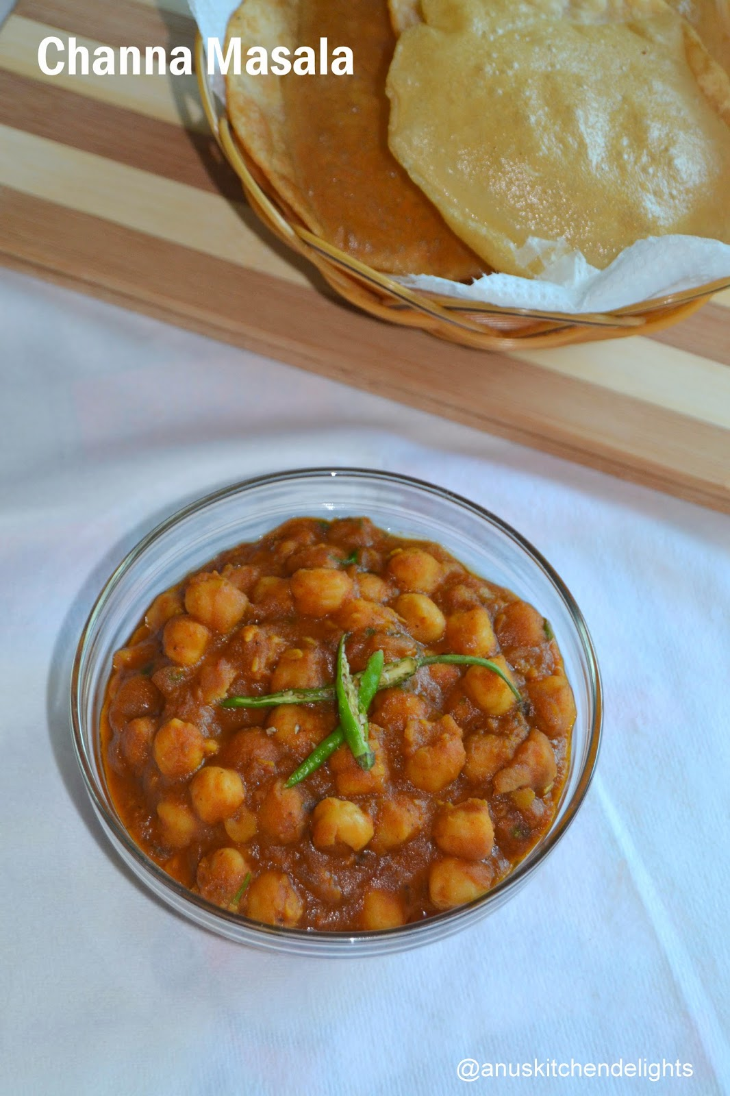 Channa masala for Bhatura