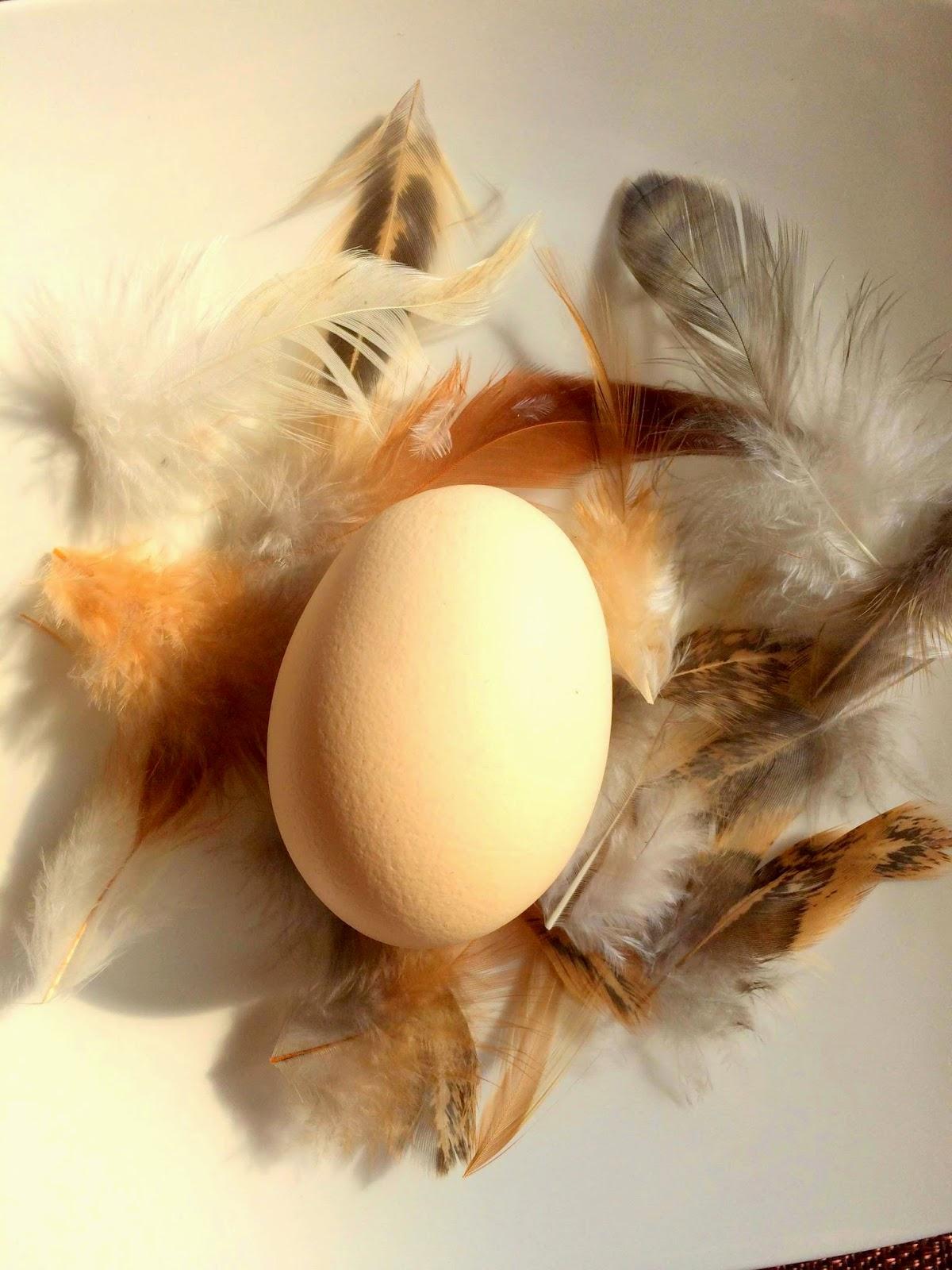 Jajka w piórkach na świątecznym stole