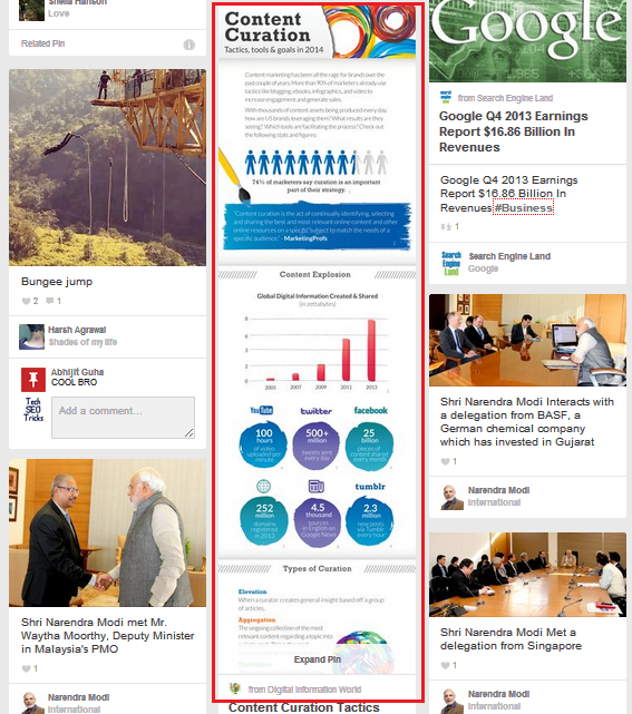 infographics in pinterest feed