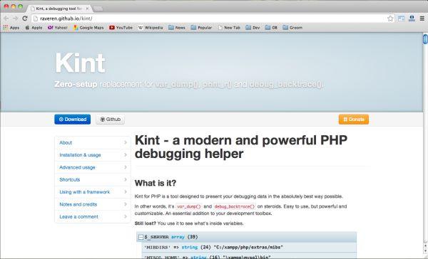 Kint adalah sebuah open source debugger, Kint adalah alternatif yang bagus untuk debugger yang lebih populer seperti var_dump, webgrind, dan lainnya