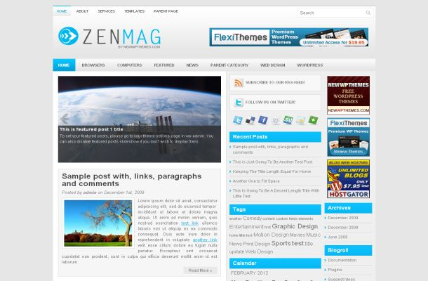 Free Wordpress Blue News Blog Theme Template