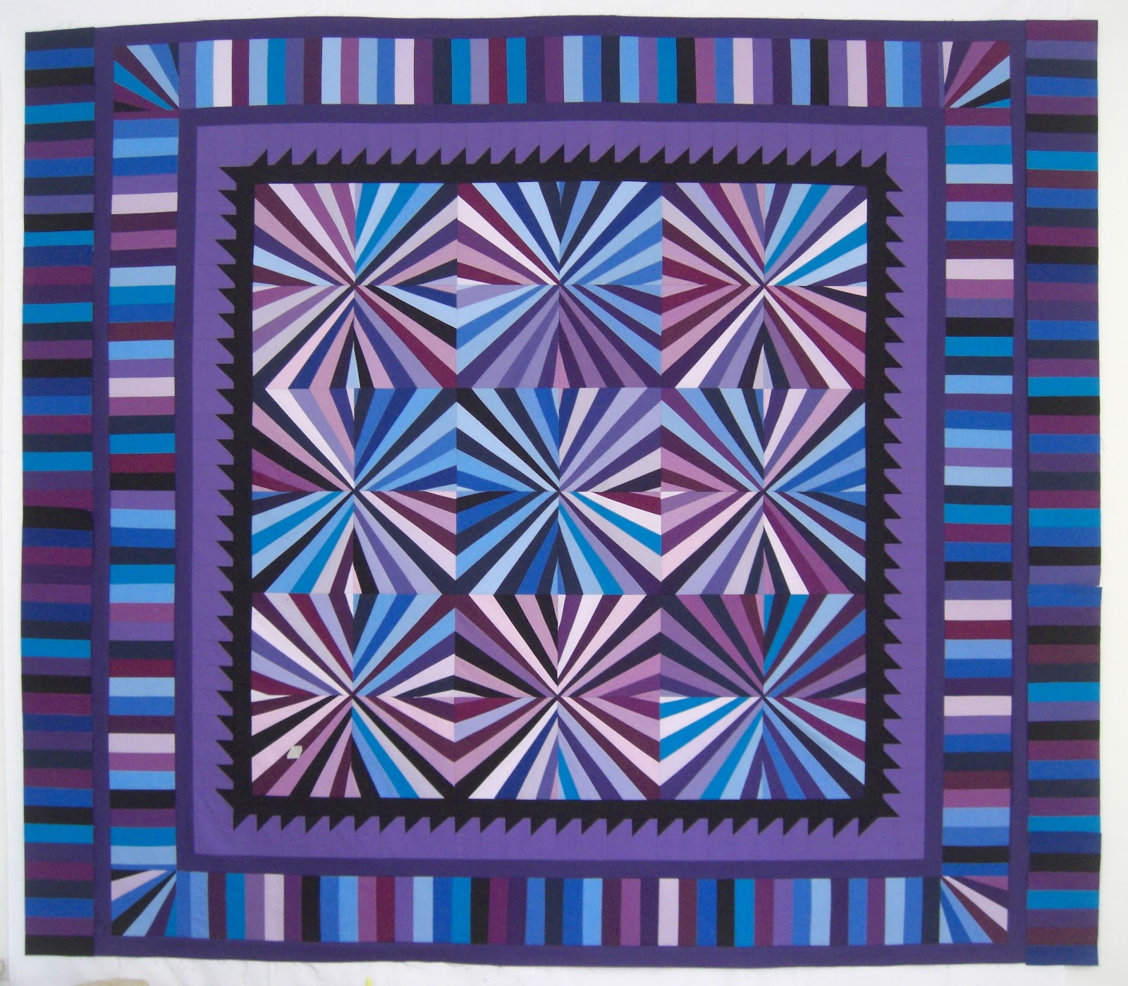 Selvage Blog  Annes Blue Fan Quilt Top Finished