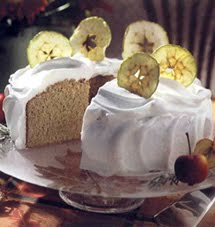 Spicy Apple Chiffon Cake with Apple Frosting and Apple Chips