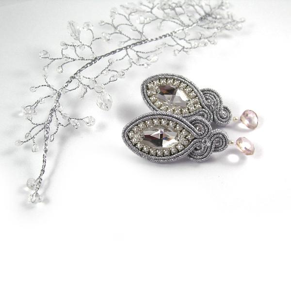 Ślubne kolczyki sutasz z perłami i kryształami, Lady Teck