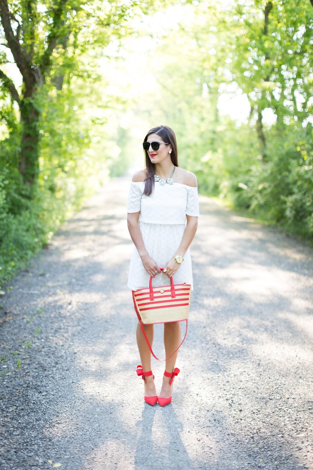 White Off Shoulder Dress // A Southern Drawl