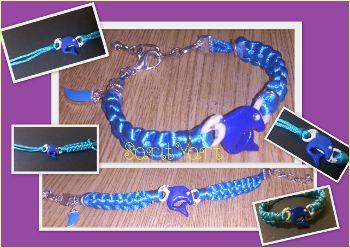 pulsera macrame azul con delfin de fimo