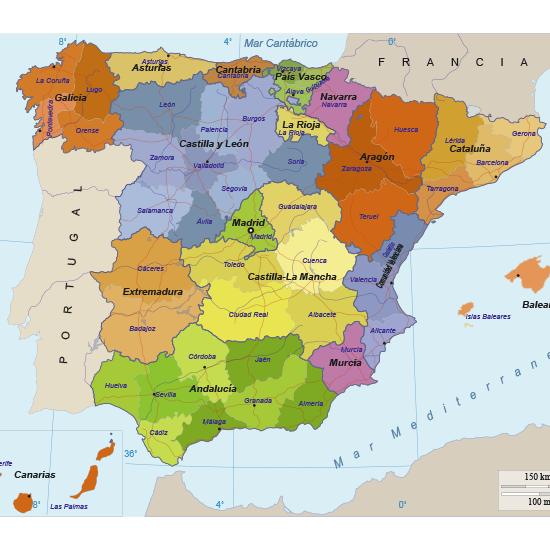 Mapa político de España editable