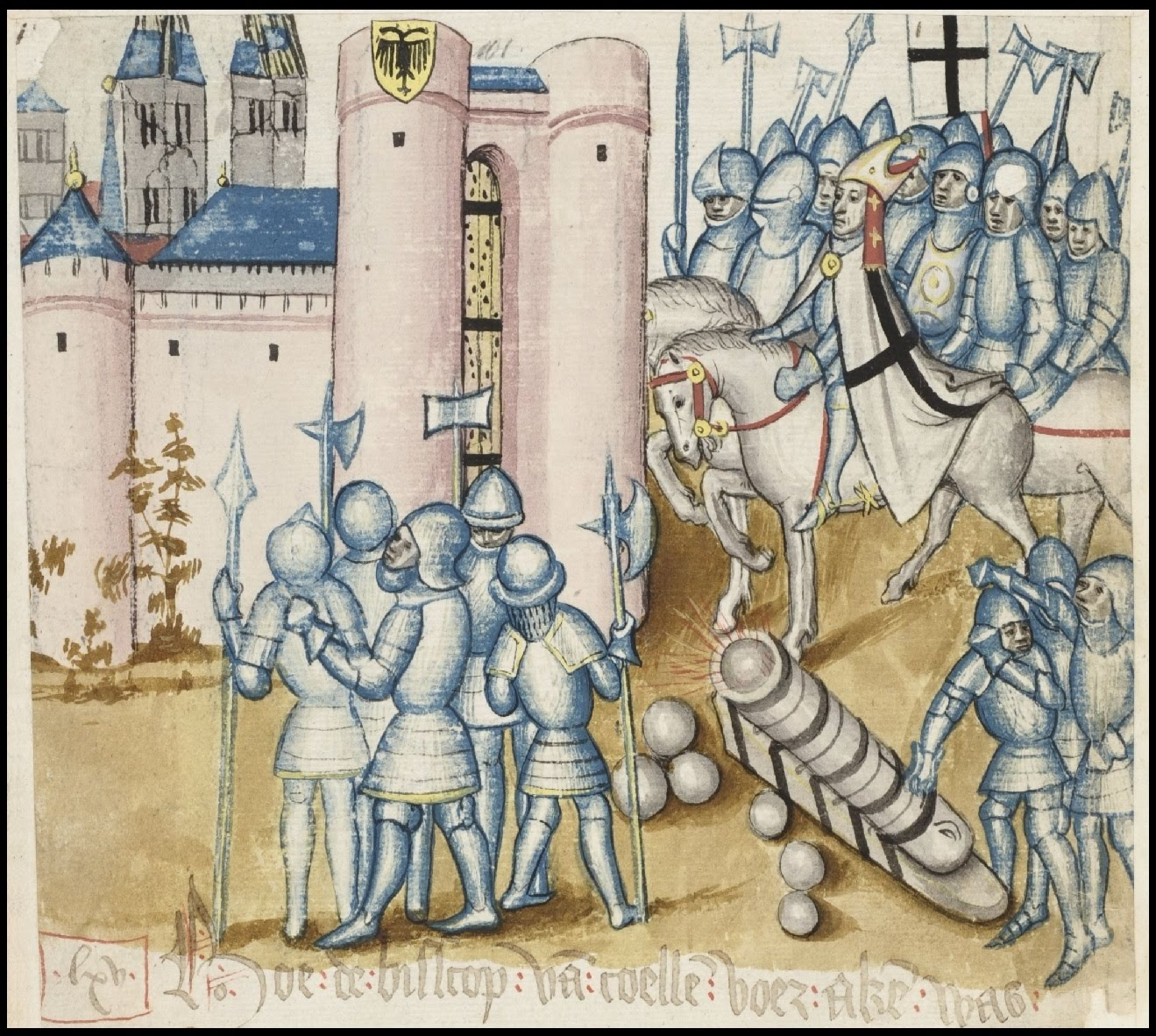 soldiers with cannon milling around a castle