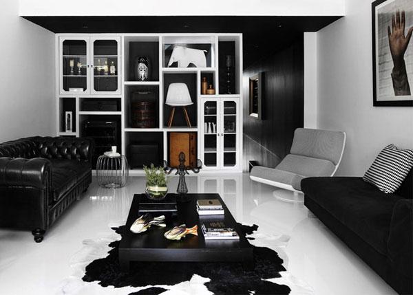Дизайн квартиры темная стена