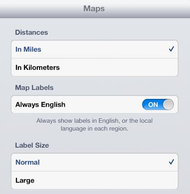 Settings Application Maps