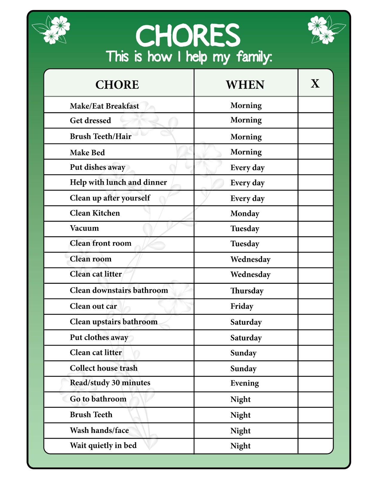 Chore Chart Printables Freebie | Mint Green Musings