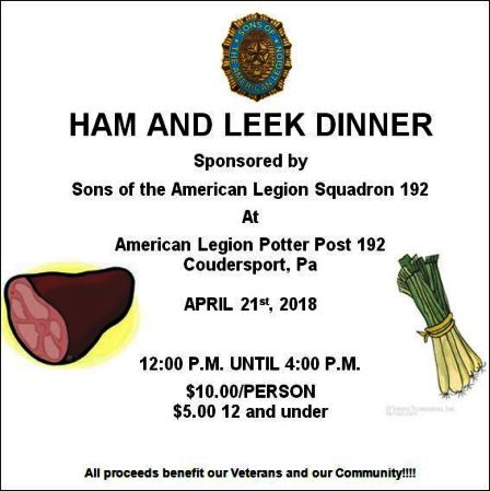 4-21 Ham & Leek Dinner, Coudersport