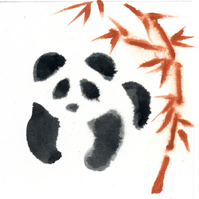 Sketch of Panda using wet gouache