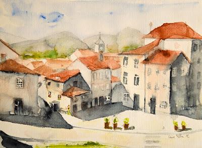 aquarelle d'un village portugais