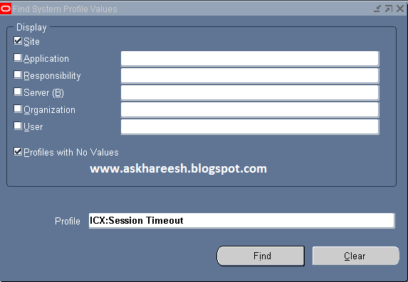 Oracle Applications Idle Session Timeout, askhareesh blog for Oracle Apps