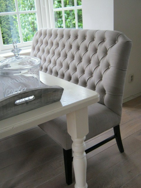 Beautiful Tufted Gray Banquette Seating God Does Exist And He Would Sit On This Banquette
