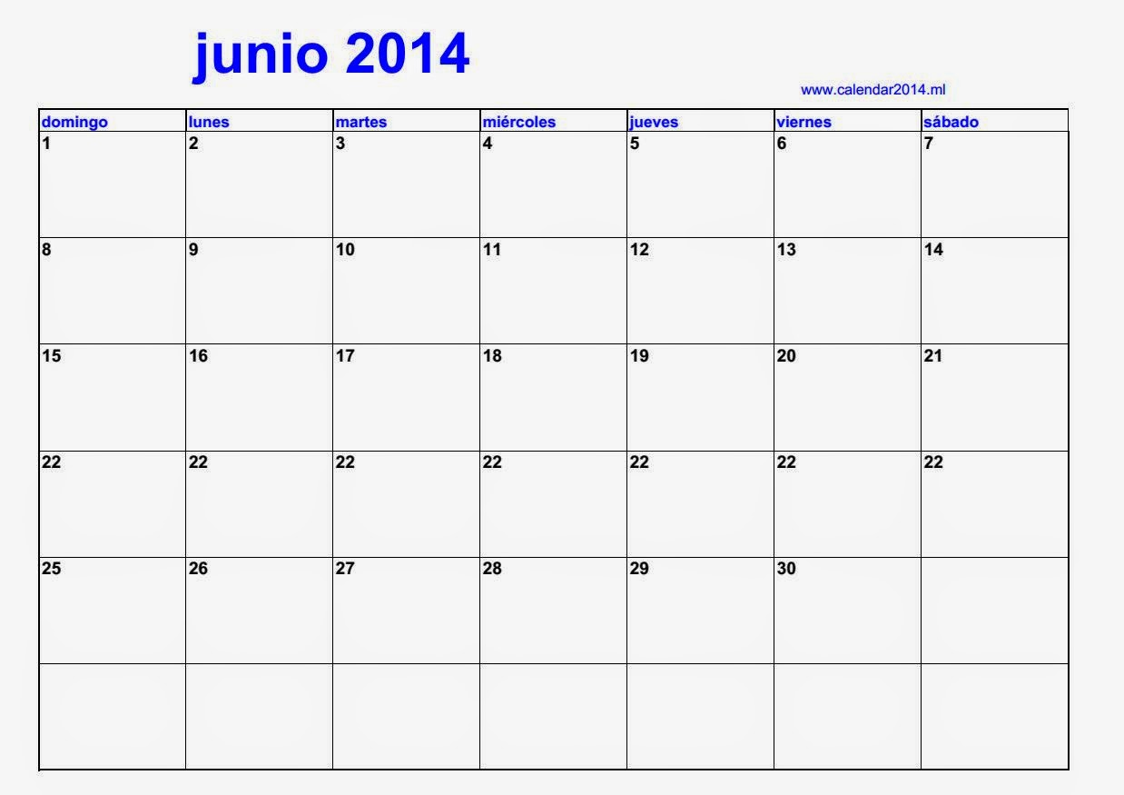Alendario en blanco junio 2014 calendars 2018 kalendar for Calendario junio 2016 para imprimir
