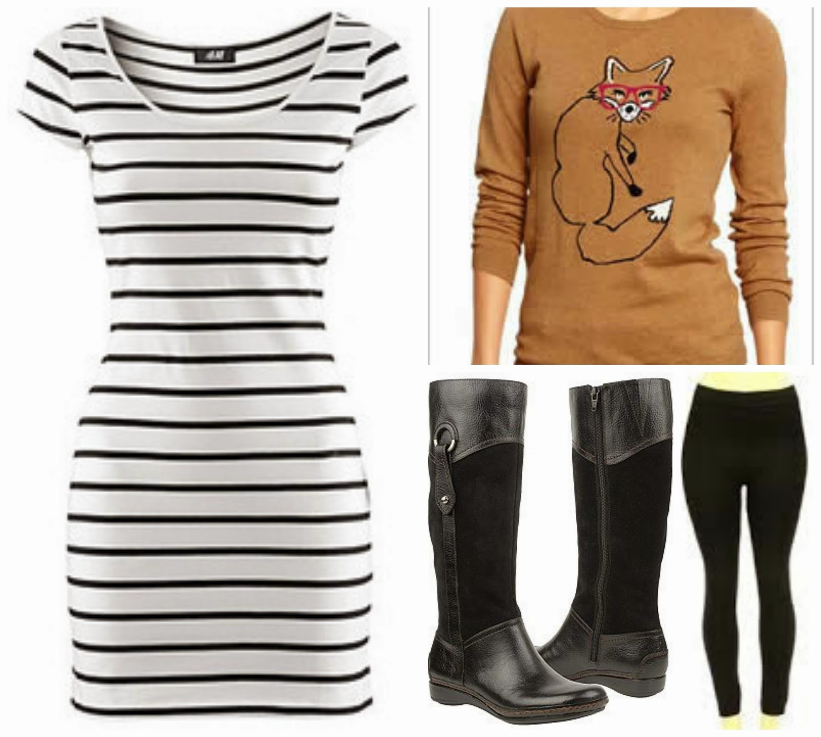 striped dress boots leggings fox sweater