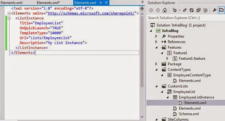 List Instance Element.xml visual studio 2012