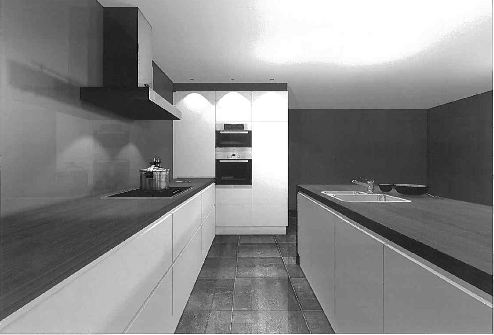 Spatwand Keuken Inox : De krukjes en de spatwand op de tekening zijn indicatief, want deze