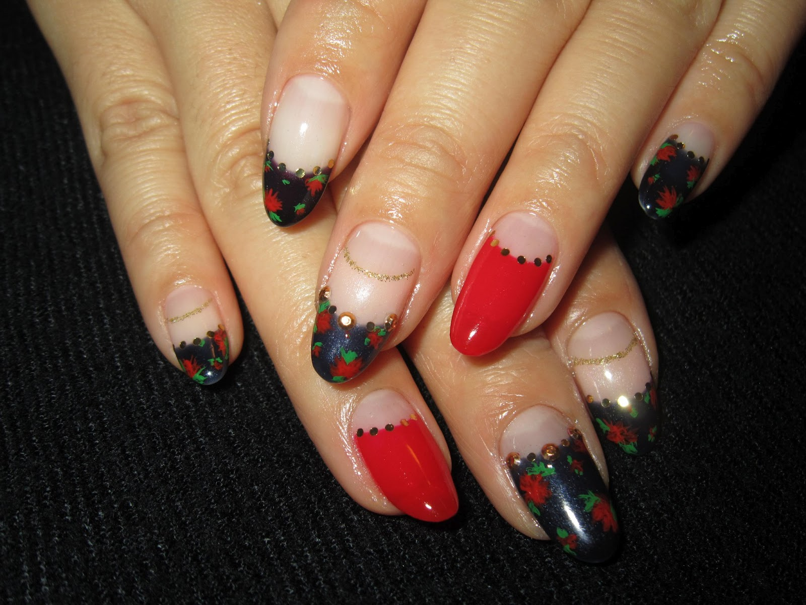 ♥Cute Nail Designs♥: Dark Blue & Red French Mix Nails