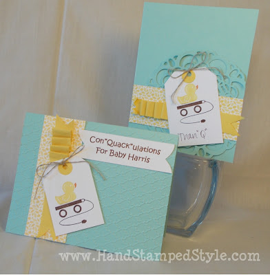 embellished events, duck theme, embossed texture, ruffled card stock