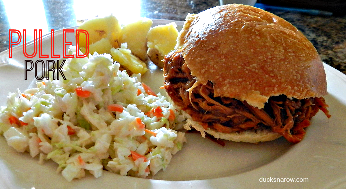 Easy 2-ingredient slow cooker recipe for pulled pork #recipes #slowcooker #crockpot #sandwich Ducks 'n a Row