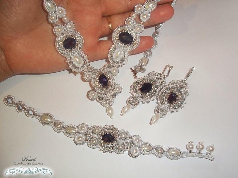 Conjunto em soutache branco e prata composto por colar, brincos e pulseira