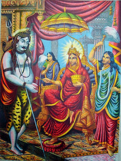 Annapoorna-Parvati serving her hermit-husband, Shiva, food at Kashi, Benares.