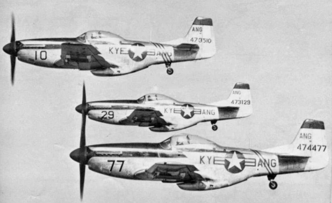 Flight of three North American Aviation F-51D Mustangs, 165th Fighter Squadron, Kentucky Air National Guard. (U.S. Air Force)