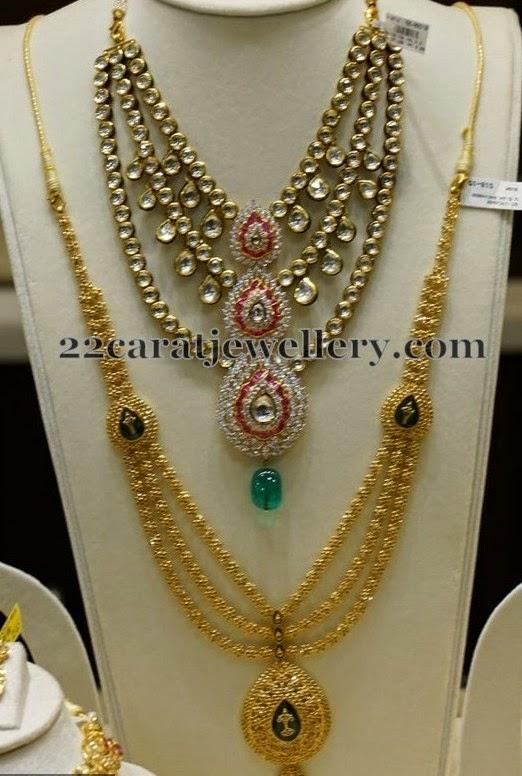 Fancy Gold Haar Kundan Set Jewellery Designs