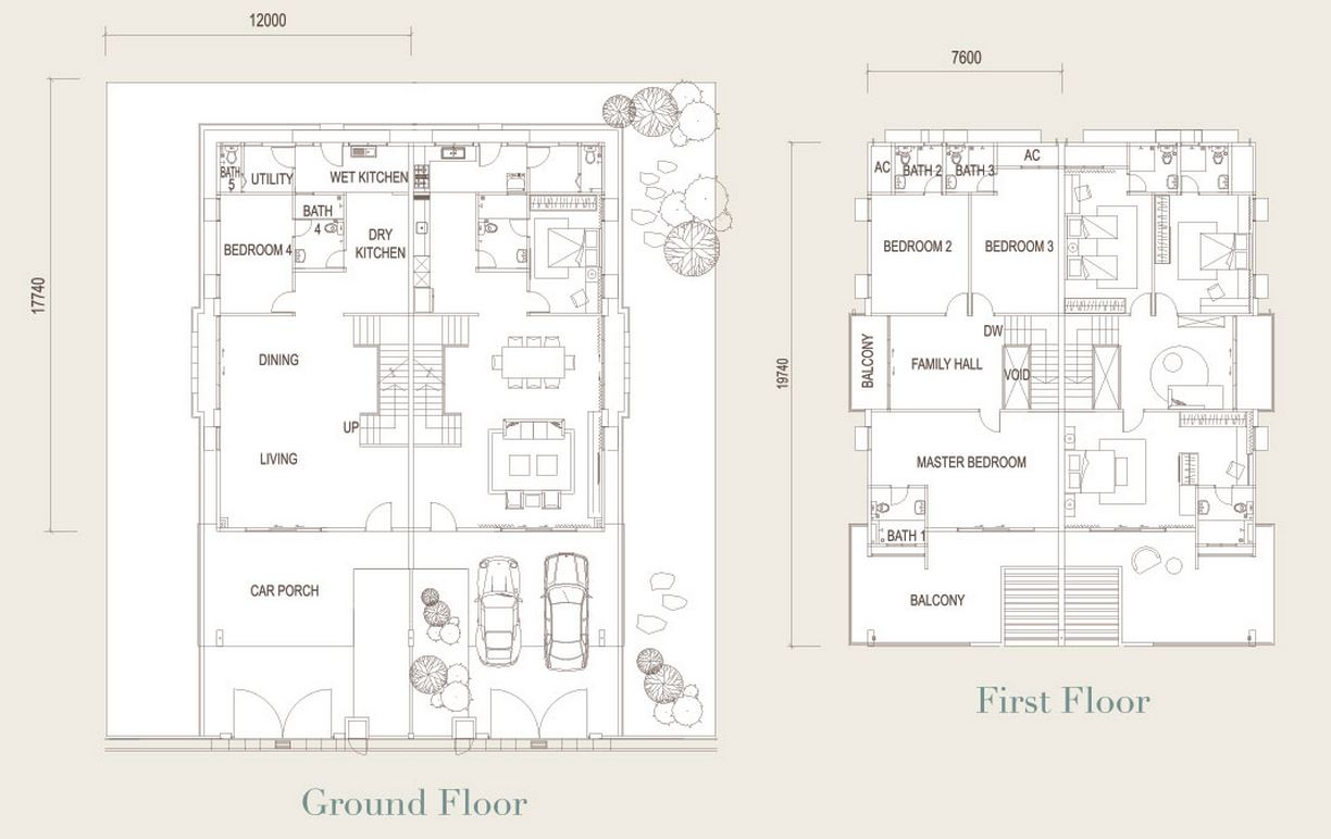 Two storey demi-detached house's floor plan: