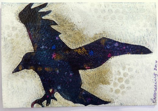 Whoopidooings: Carmen Wing - Crow in acrylics for the #TwitterArtExhibit