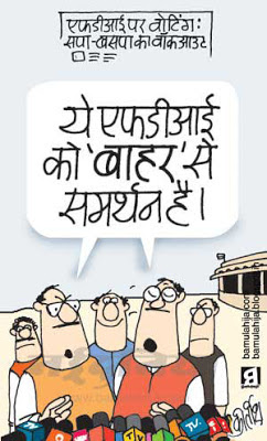 FDI in Retail, mayawati Cartoon, mulayam singh cartoon, congress cartoon, parliament, indian political cartoon