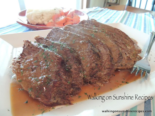 The best pot roast recipe ever.  It cooks in the crock pot making the meat perfectly moist and tender from Walking on Sunshine Recipes.