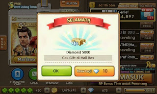 Trik Event Jackpot Draw 5.000 Diamond Get Rich, Trik Event Jackpot 16 Juni 2015, Trik Mendapatkan 5.000 Diamond dari jackpot.
