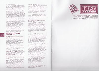 Instrucciones del TEG hojas 18 y 19
