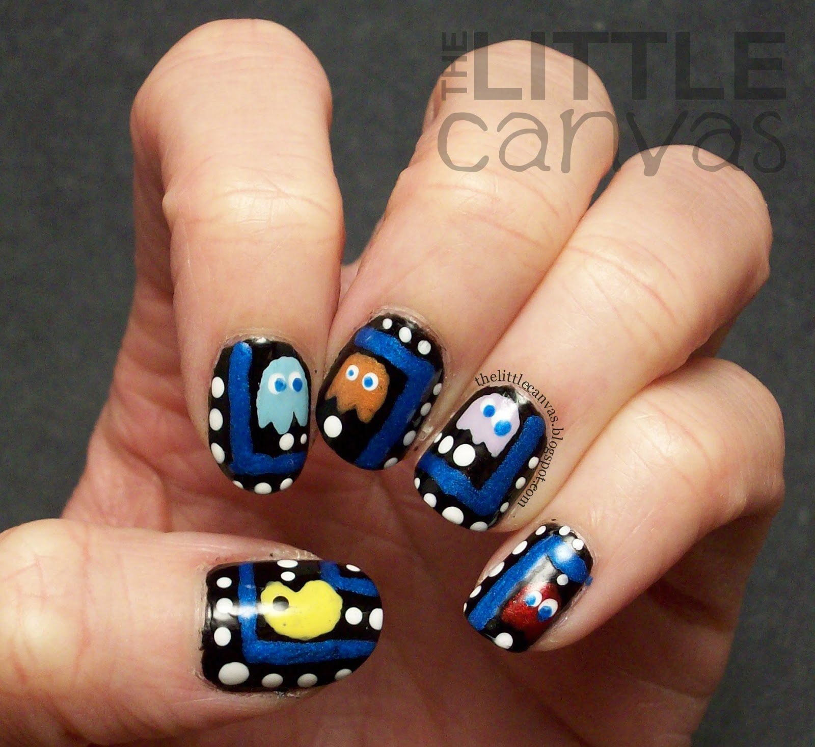 Pac man nail art the little canvas pac man nail art prinsesfo Image collections