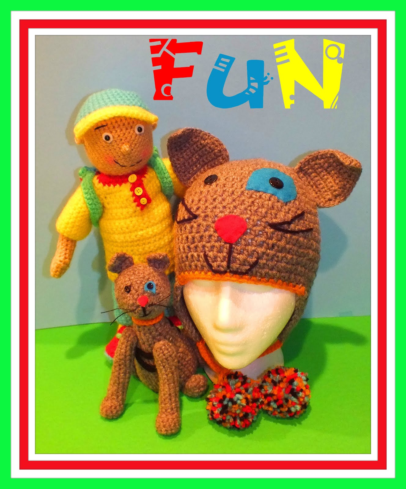 Caillou Inspired Crochet Doll, Cat & Hat Pattern© By Connie Hughes Designs©