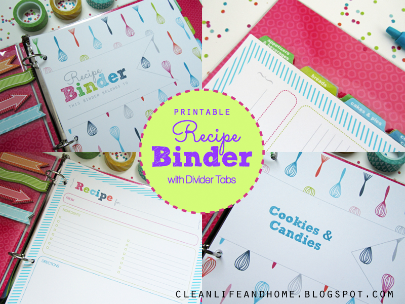 photo regarding Printable Dividers for Binders named Fresh Lifetime and House: Printable Recipe Binder with Divider