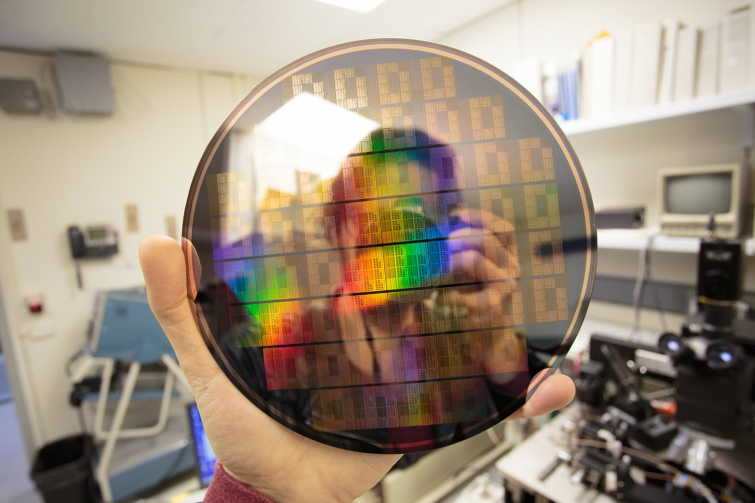wafer of graphene chips at IBM Research