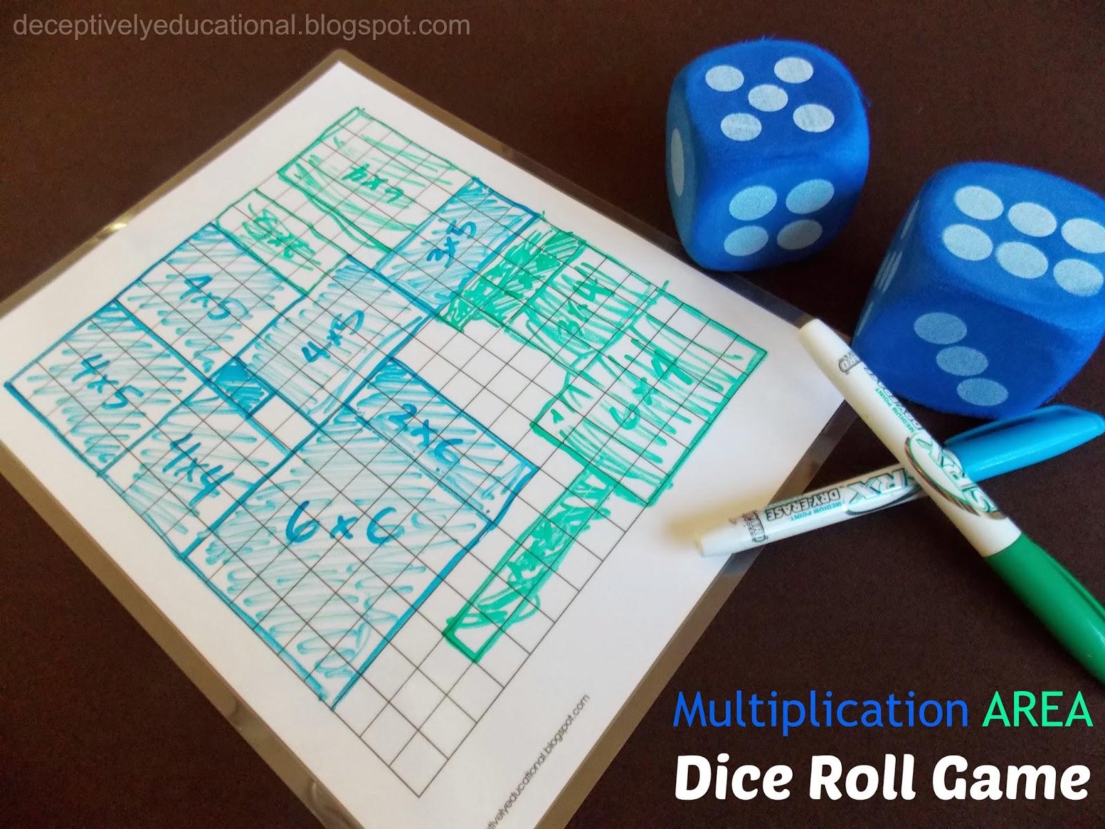 Relentlessly Fun, Deceptively Educational: Multiplication AREA Dice ...