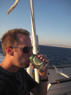 Drinking a Mythos on the ferry to Lesbos.  Perfect name for a Greek beer.
