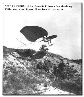 Foto de la primera volada d'Otto Lilienthal.